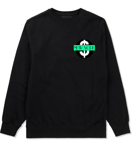 New York Mint Chest Logo Boys Kids Crewneck Sweatshirt in Black By Kings Of NY