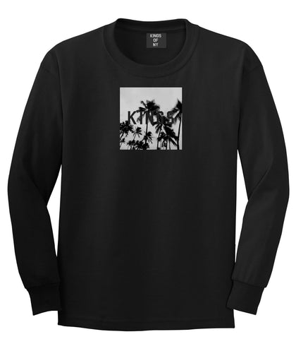 Kings Palm Trees Logo Long Sleeve T-Shirt in Black By Kings Of NY