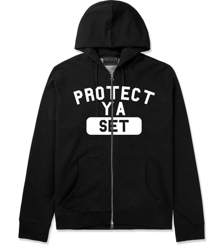 Protect Ya Set Neck Zip Up Hoodie in Black By Kings Of NY