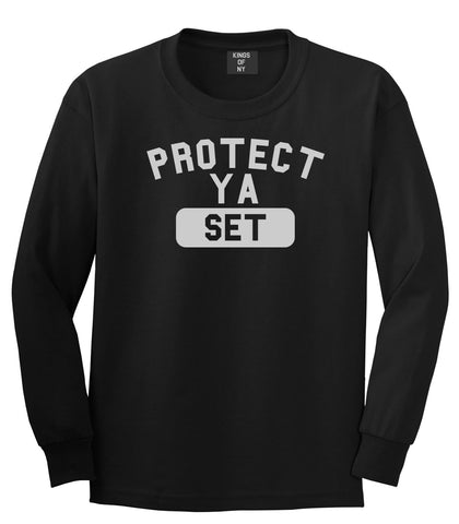 Protect Ya Set Neck Long Sleeve T-Shirt in Black By Kings Of NY