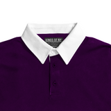 Mens Purple and White Striped Long Sleeve Polo Rugby Shirt