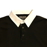 Mens Black Long Sleeve Polo Rugby Shirt Detail