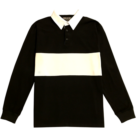 Mens Black Long Sleeve Polo Rugby Shirt
