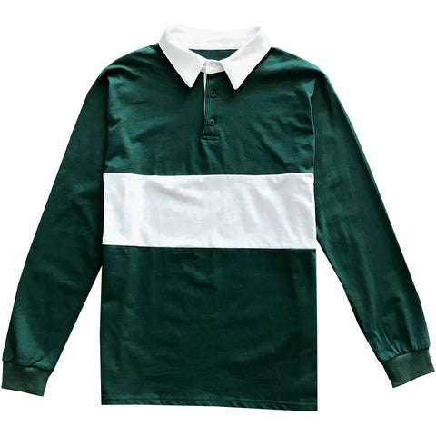 Mens Green and White Striped Long Sleeve Polo Rugby Shirt
