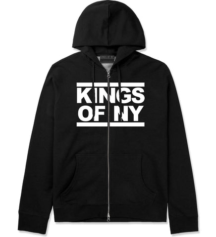 Kings Of NY Run DMC Logo Style Zip Up Hoodie in Black By Kings Of NY
