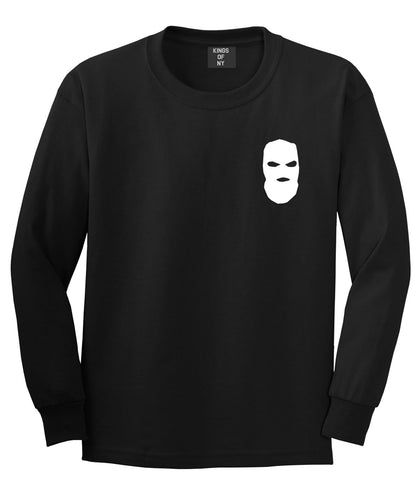 Ski Mask Way Robber Chest Logo Long Sleeve T-Shirt in Black By Kings Of NY