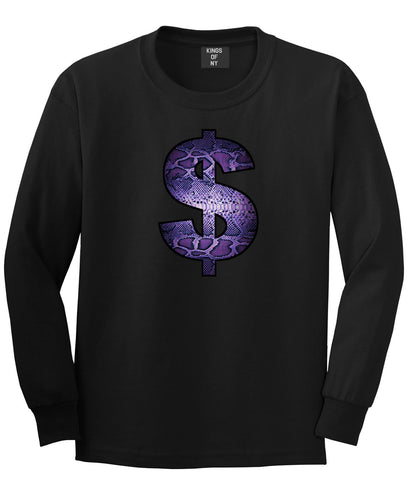Snakeskin Money Sign Purple Animal Print Long Sleeve T-Shirt In Black by Kings Of NY