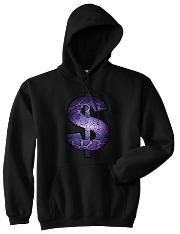 7d8e46cb4c7 Snakeskin Money Sign Purple Animal Print Pullover Hoodie Hoody In Black by  Kings Of NY