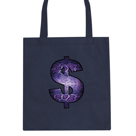 e63813c36fd ... Snakeskin Money Sign Purple Animal Print Tote Bag By Kings Of NY ...