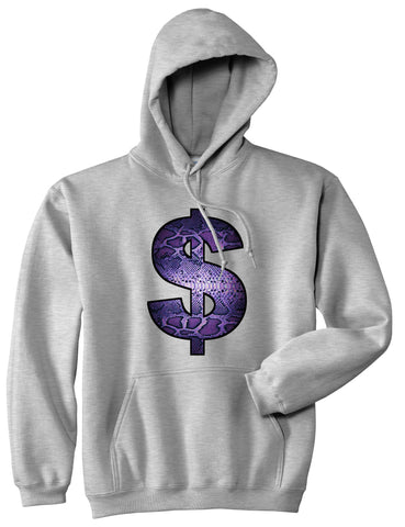5665fe59a6a ... Snakeskin Money Sign Purple Animal Print Pullover Hoodie Hoody In Grey  by Kings Of NY ...
