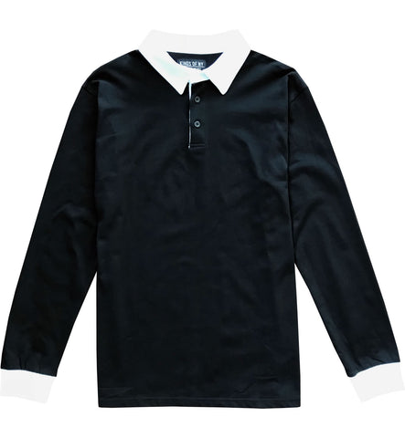 Solid Black with White Collar Mens Long Sleeve Polo Rugby Shirt