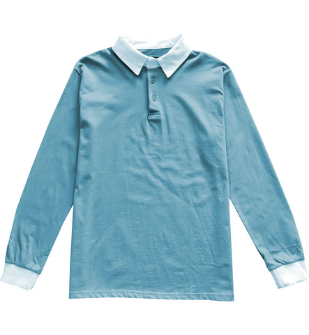 Solid Light Blue with White Collar Mens Long Sleeve Polo Rugby Shirt