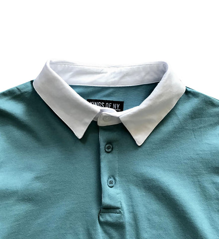 fef159192b61 ... Solid Light Blue with White Collar Mens Long Sleeve Polo Rugby Shirt ...
