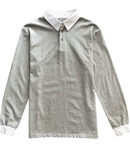 Solid Grey with White Collar Mens Long Sleeve Polo Rugby Shirt