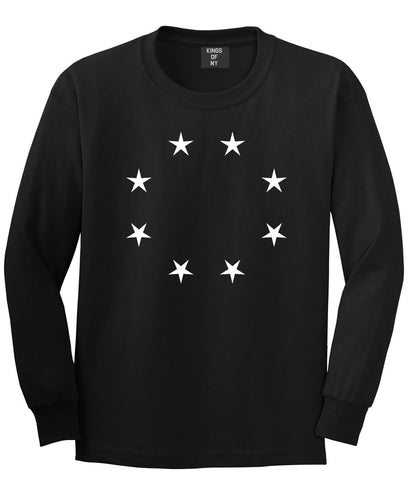 Stars Circle Scale Black by Kings Of NY True Goth Ghetto Long Sleeve T-Shirt In Black by Kings Of NY