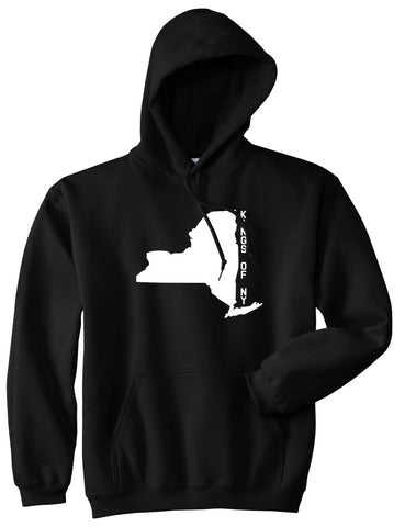 New York State Shape Pullover Hoodie in Black By Kings Of NY