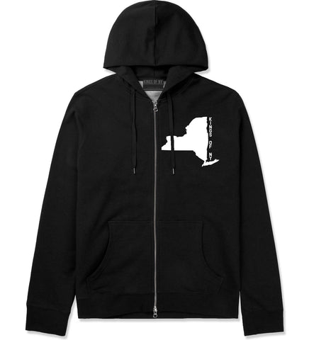 New York State Shape Zip Up Hoodie in Black By Kings Of NY