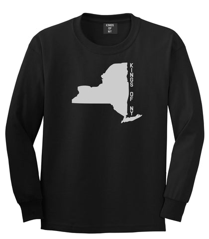 New York State Shape Long Sleeve T-Shirt in Black By Kings Of NY