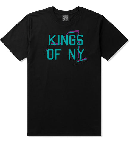 New York State Outline T-Shirt in Black by Kings Of NY
