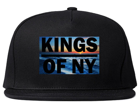 Sunset Logo Snapback Hat in Black by Kings Of NY