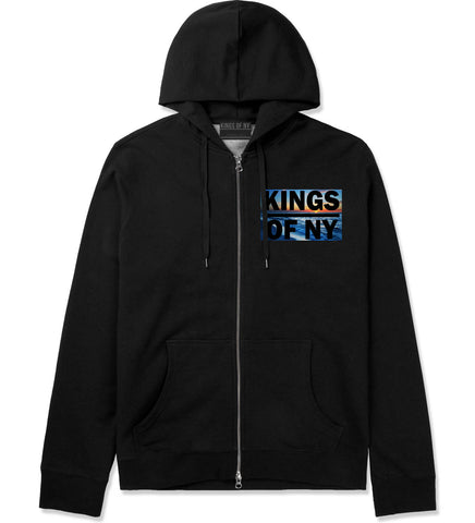 Sunset Logo Zip Up Hoodie Hoody in Black by Kings Of NY