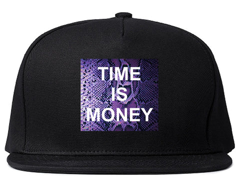 Time Is Money Snakesin Print Snapback Hat By Kings Of NY