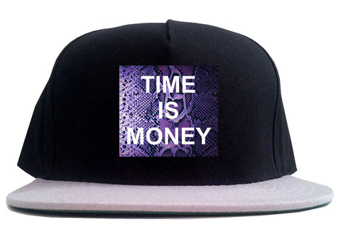 Time Is Money Snakesin Print 2 Tone Snapback Hat By Kings Of NY