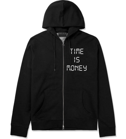 Time Is Money Zip Up Hoodie in Black By Kings Of NY