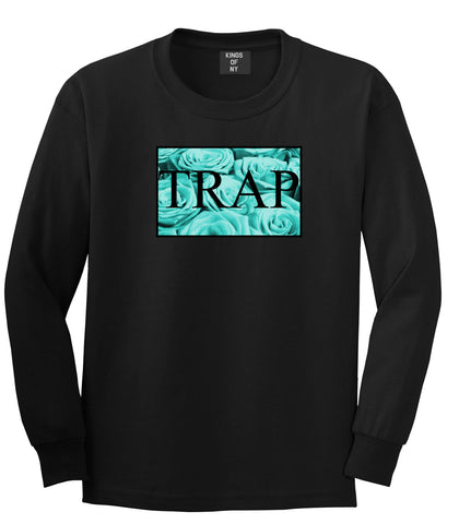 Trap Floral Style Hood Music Hood Dope Long Sleeve T-Shirt In Black by Kings Of NY