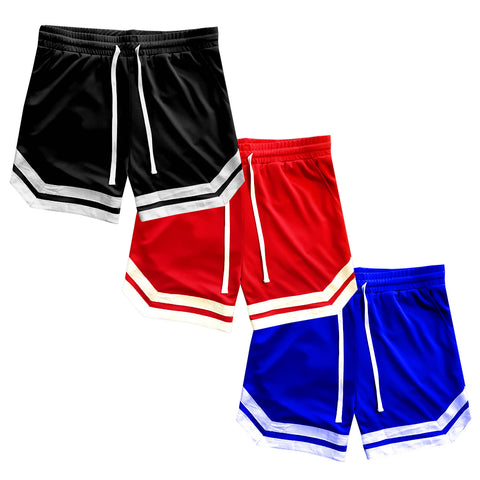 Vintage Striped Logo Mens Mesh Basketball Shorts With Pockets