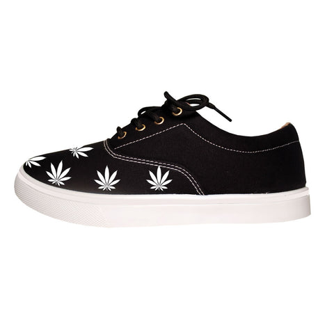 Weed Leaf Marijuana Canvas Casual Black Sneakers