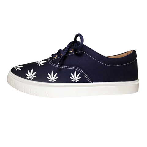 Weed Leaf Marijuana Canvas Casual Navy Blue Sneakers