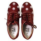 Weed Leaf Marijuana Canvas Casual Burgundy Sneakers