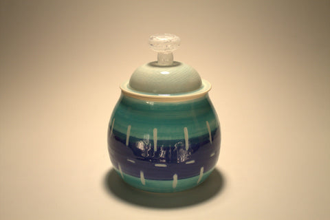 Blue-Green Jar- Notch Pattern