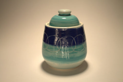 Blue-Green Jar- Ring Pattern