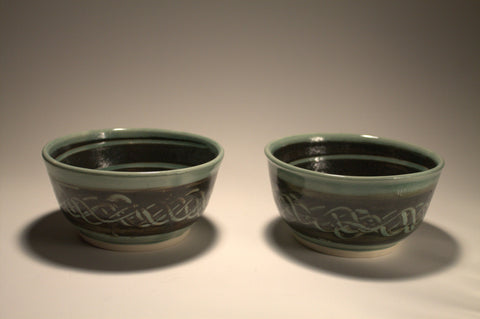 Celadon Sgraffito Bowls - Set of 6