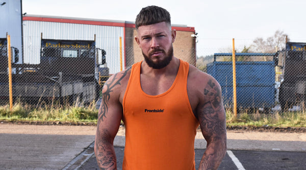 Men's Orange Workout Tank Top Frontside Sportswear