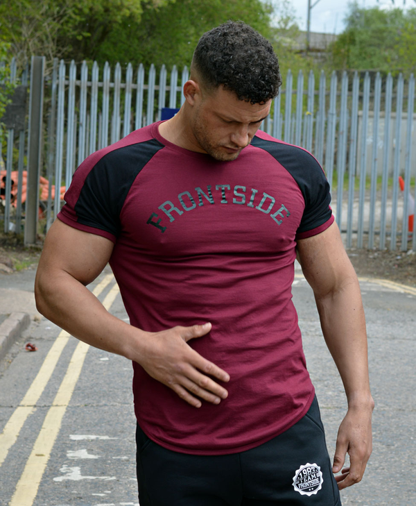 Burgundy Curved Hem Fitted Gym Tee - Frontside Apparel