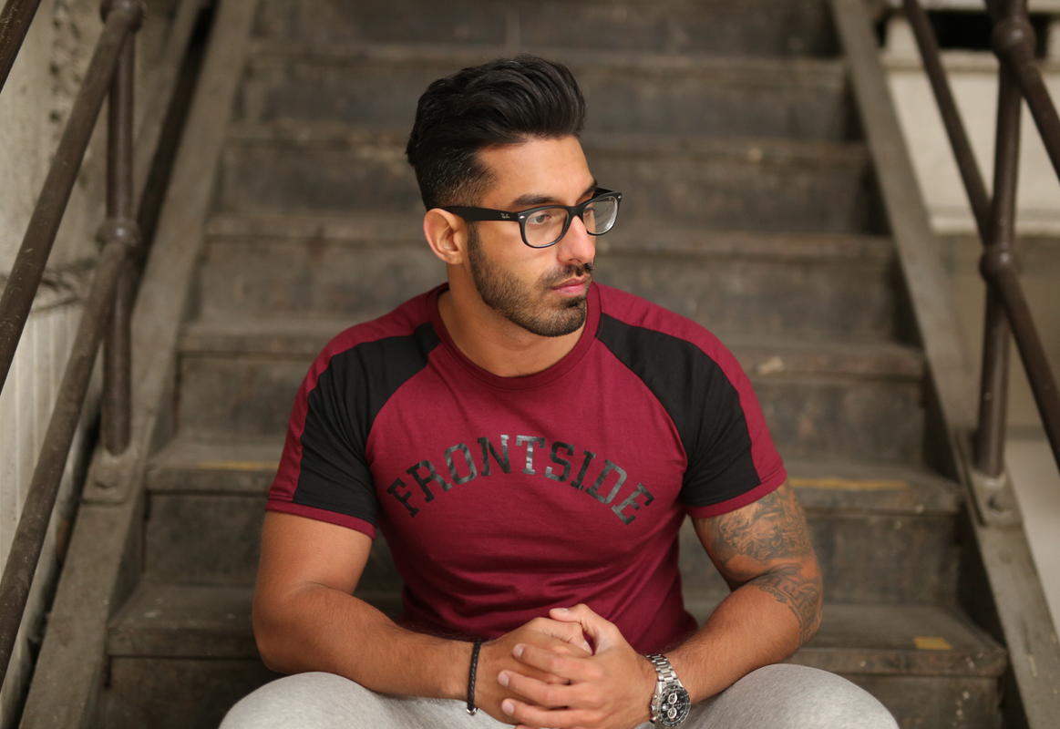 a497e0343502a Frontside Apparel Men s Fitted T-Shirt In Burgundy   Black - Gym Clothing  ...
