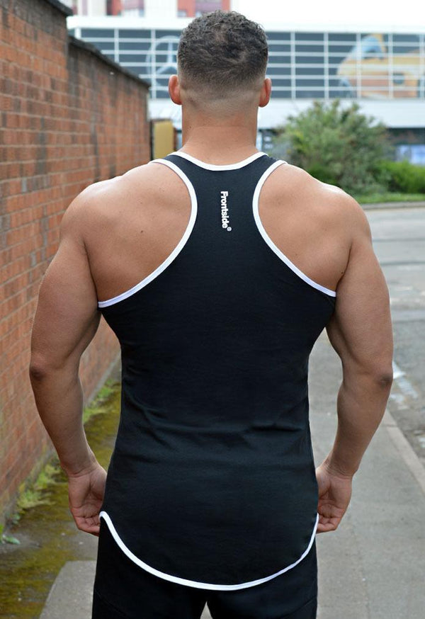 Men's Black Longline Workout Vest - Frontside Apparel