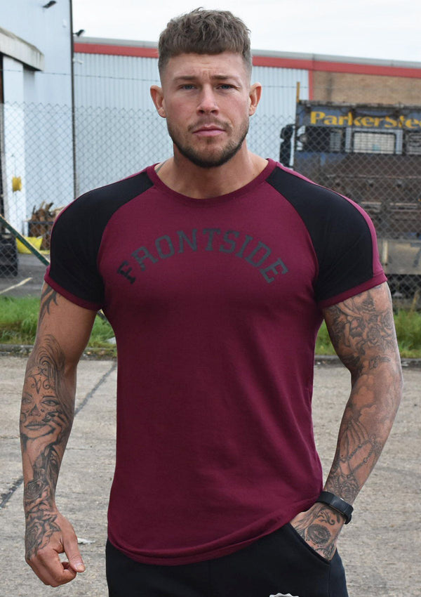 Mens Burgundy Workout T-Shirt - Frontside Apparel