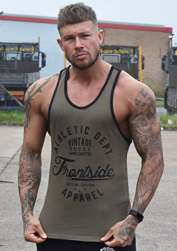Men's Khaki Gym Tank Top - Frontside Apparel