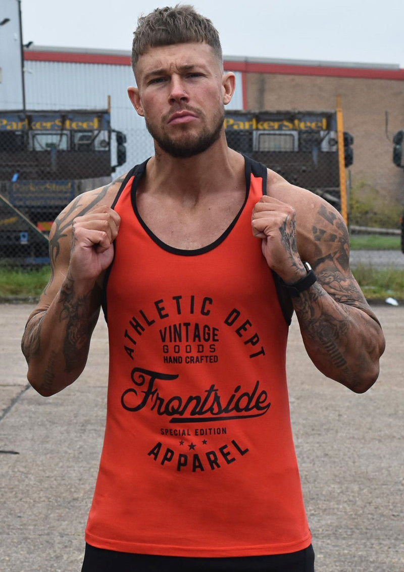 Mens Red Gym Stringer Vest - Frontside Apparel