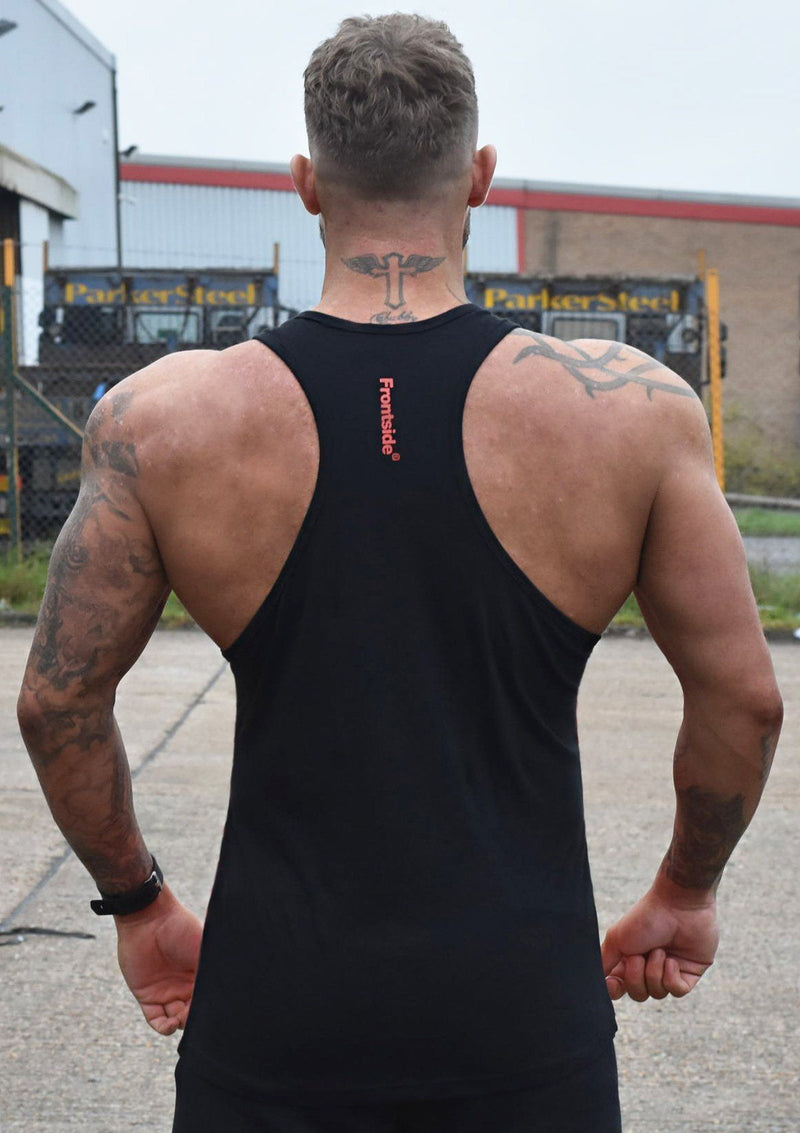 Men's Red Gym Stringer Vest - Frontside Apparel