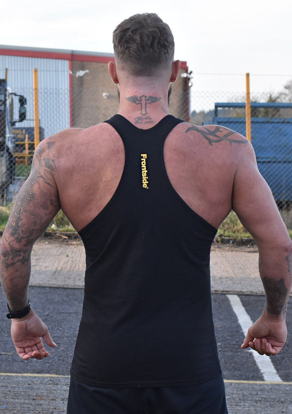Mens Black Workout Vest - Frontside Apparel