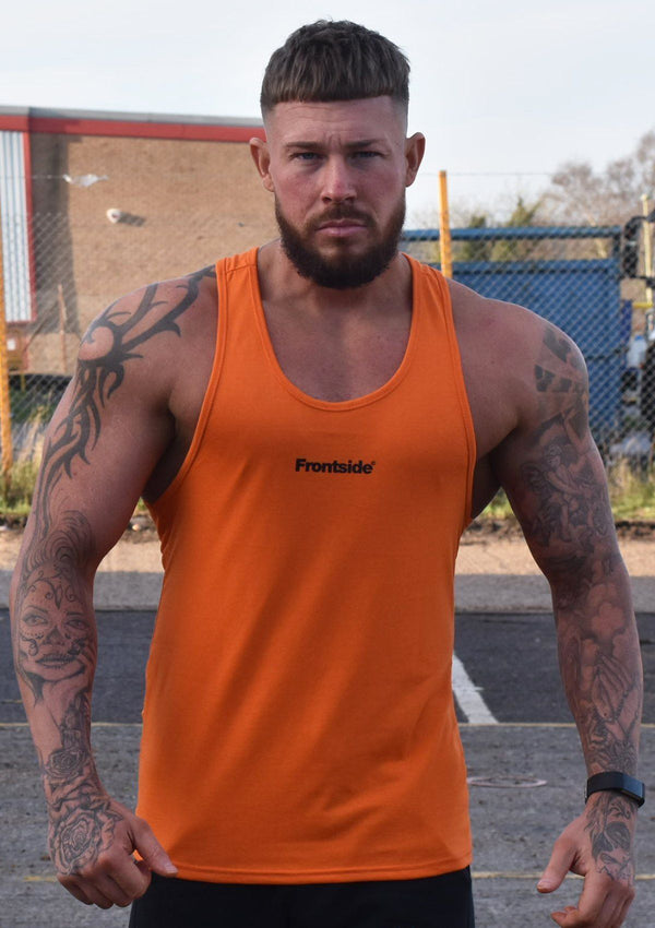 Mens Orange Stringer Vest - Frontside Apparel