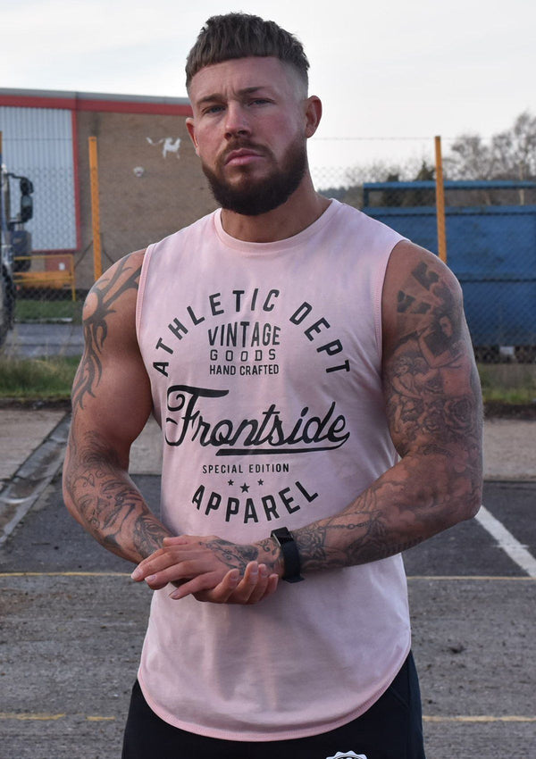 Mens Pink Sleeveless T-Shirt - Frontside Apparel