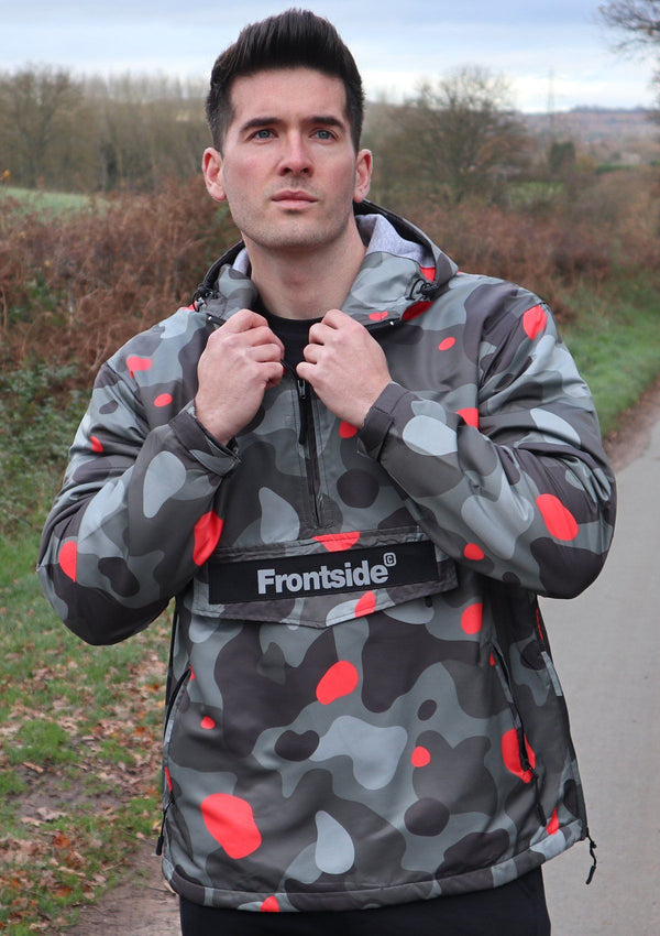 Mens Grey Camouflage Pullover Jacket - Frontside Apparel