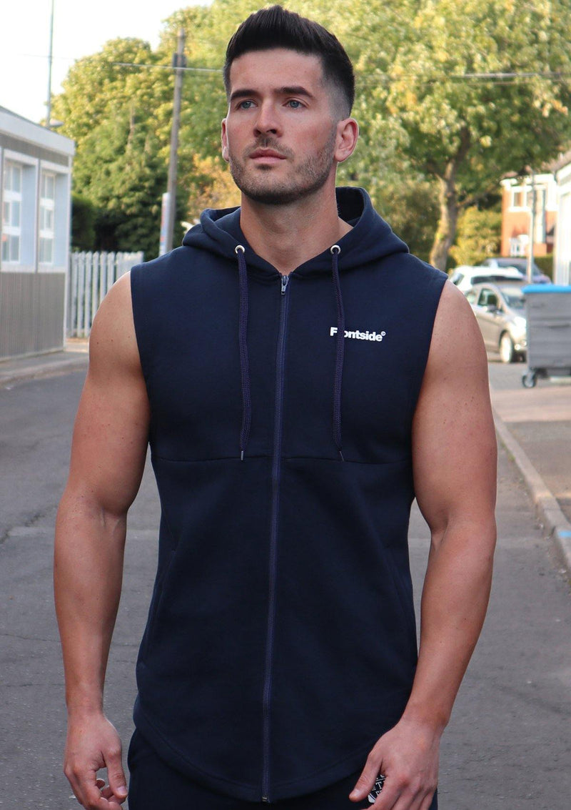 Mens Dark Blue Sleeveless Hoodie - Frontside Apparel