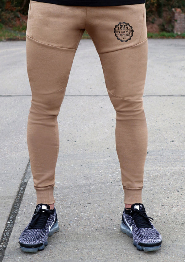 Mens Beige Slim Fit Joggers - Frontside Apparel